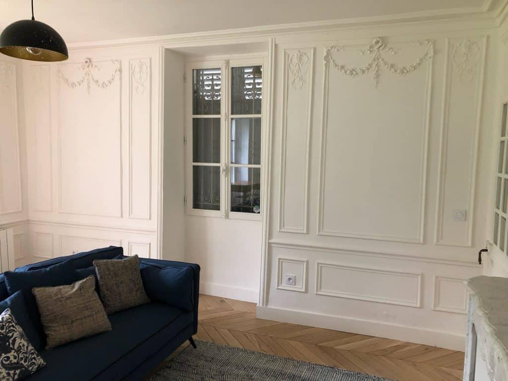 blancs mat lessivable peinture mate blanche lavable plafonds murs boiseries peint au pistolet Airless sans brouillard rénové